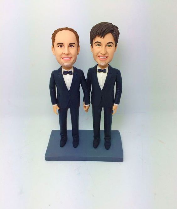 gay wedding cake topper wedding cake topper two grooms by my memory dolls 4456