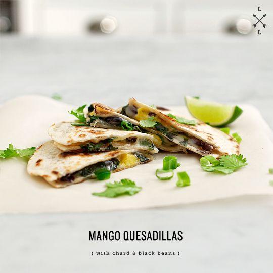 mango, chard & black bean quesadillas