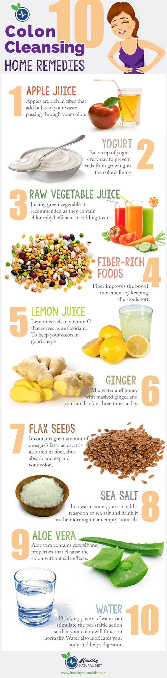 colon cleanse home remedies infographic