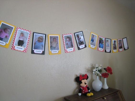 a picture banner with a picture for every month in her first year