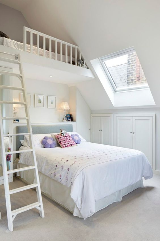 kleines Kinderzimmer mit Dachschräge weiß streichen und optisch - schlafzimmer ideen mit schrgen