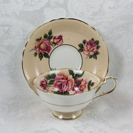 Vintage Pastel Green Floral Paragon Tea Cup and by scdvintage, $45.00