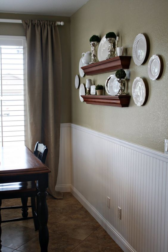 Paint a neutral color above white beadboard wainscoting in for Neutral dining room paint colors