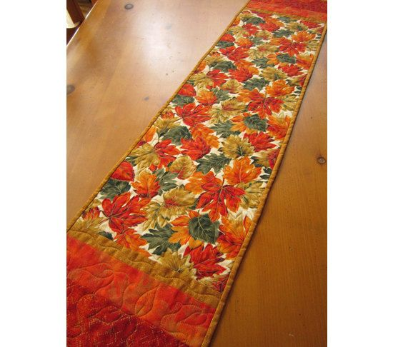 Handmade Quilted Table Runner Autumn Leaves, $44.00 Patchwork Mountain