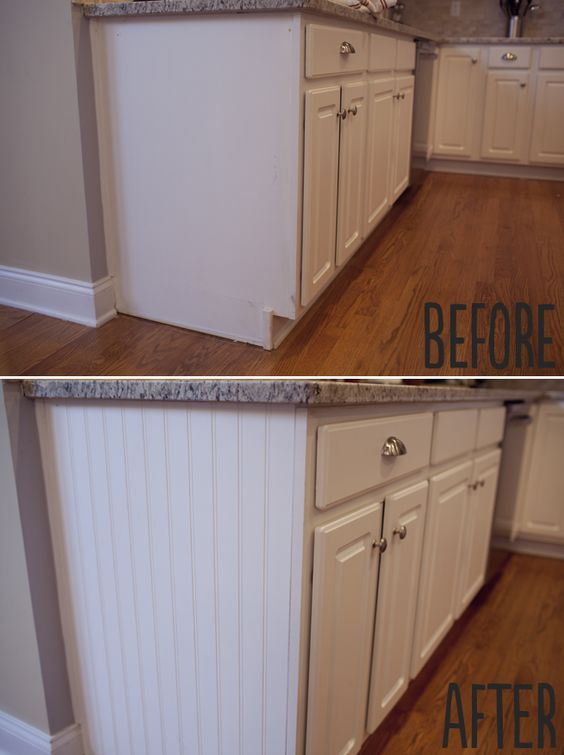 beadboard on ends of cabinet/ for the end cabinets of the bar/ add thin shelves for picture frames/ knick knacks