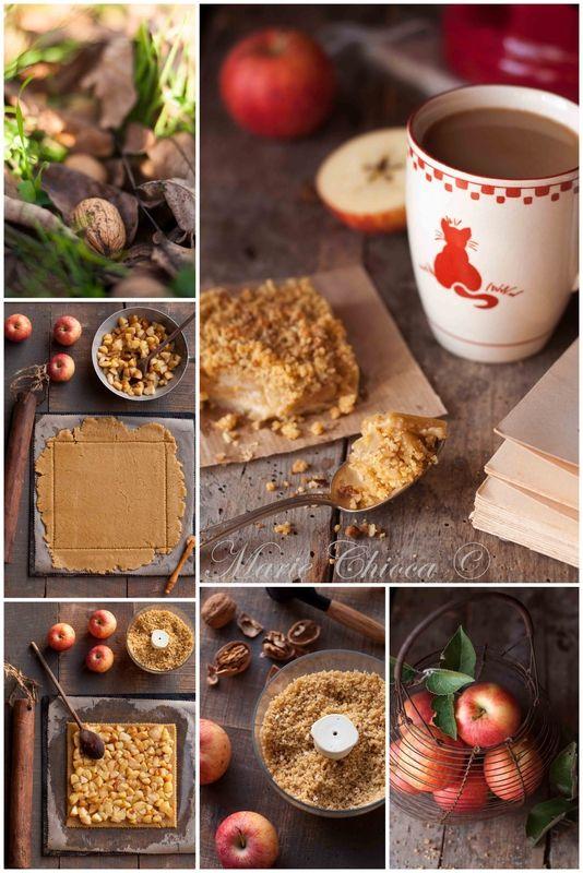 """Tourte-crumble """"des paresseux"""" Aux pommes poêlées et noix de Grenoble (Recette très saine et à IG bas)"""