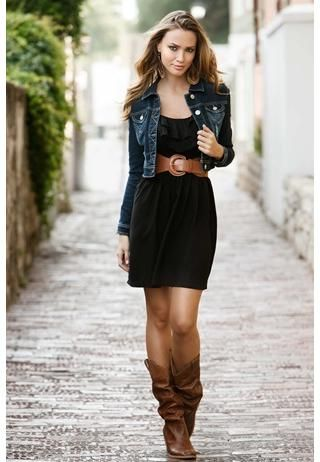 Black dress, brown belt, brown boots--- dress is too short but I like the color combo