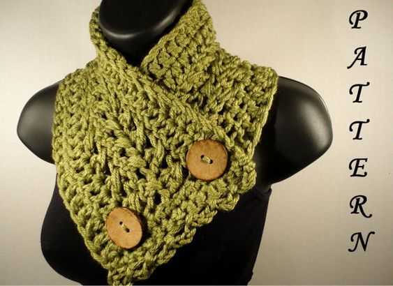 Crochet Scarf Pattern With Button : Crochet Pattern, Crochet Scarf Pattern, Neckwarmer, Button ...