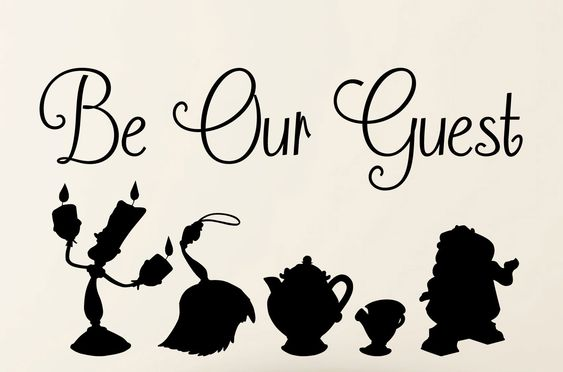 Be our Guest Beauty and the Beast wall Decal  Quote and Silhouette  Vinyl Wall Decal Art by TannersCreekDesigns on Etsy https://www.etsy.com/listing/218208395/be-our-guest-beauty-and-the-beast-wall: