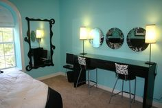 Tiffany Blue Teen bedroom, L-shape faux fur headboard, king size bedding, custom pillows. Beauty bar with custom shaped mirrors and upholstered barstools., Girls Rooms Design | best stuff