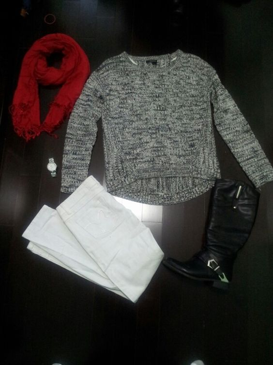 Fall outfit for school! DNKY sweator, Fossil watch, Spring riding boots, white straight jeans and a red scarf!