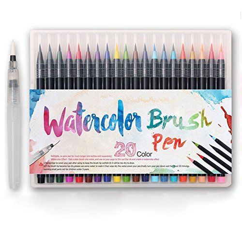 Watercolor Painting Brush Pen Set 20 Color Premium Soft Flexible