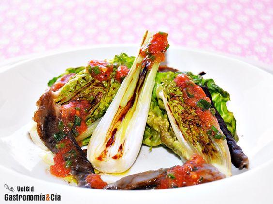 Cogollos a la plancha con vinagreta de tomate y jang.