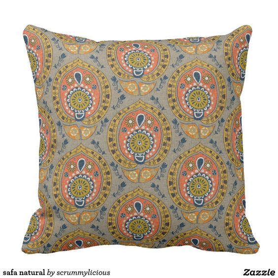 safa natural throw pillow #zazzle #pillow #boho #natural #floral #pattern…