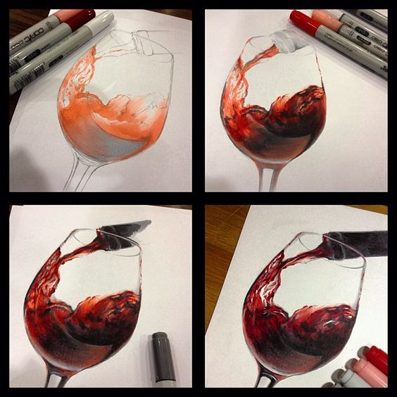 Copic marker realism by bamboo yang for What paint do you use to paint wine glasses