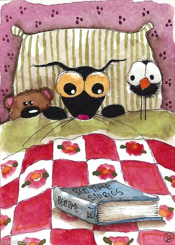 ACEO Original watercolor Folk Art painting black Stressie cat book crow teddy