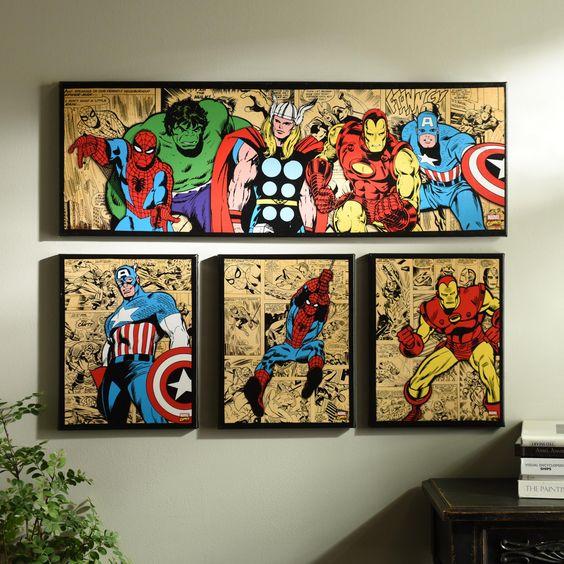 Marvel superheroes canvas art prints set of 4 superhero kids caves and child room - Marvel comics decor ...