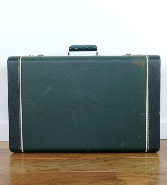 Vintage Suitcase Luggage from 1940's -1950's Dark Green Fabric ...