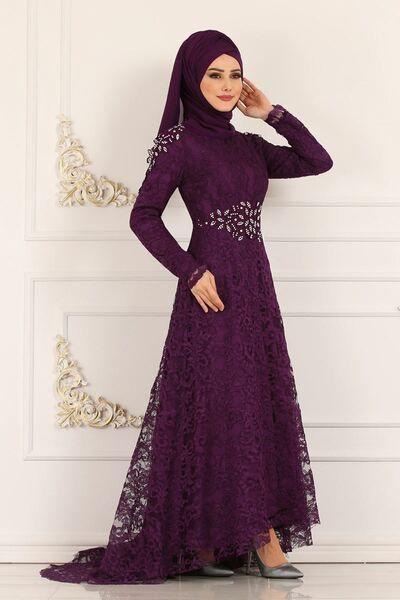 Modaselvim Abiye Dantelli Peplum Abiye 5048ay342 Mor Elbise Elbiseler Elbise Modelleri