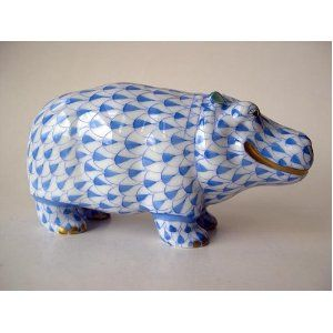 Herend Hand Painted Porcelain Hippo