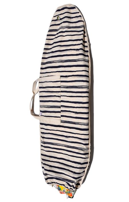 Board Bag $160.00 100% cotton canvas, hand screened. Sturdy shoulder straps. Velcro pocket to stash your suit and wax! Holds one board. Longboard bags come with fin slot. CUSTOM MADE IN MINNESOTA. TO ORDER: First, add to cart. Then send an email with desired dimensions and any other specifications to ALEXANDRA.