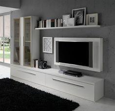 Composición modular para #salon #moderno. De acabado blanco con módulo vitrina con puertas de cristal y marco de aluminio.