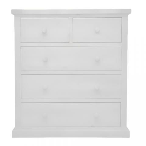 White Pine Chest 5 Drawers Solid, White And Pine Bedroom Furniture Uk