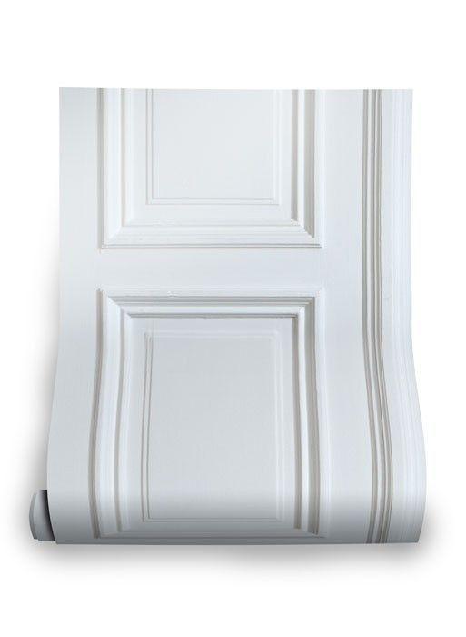 White Wood Panelling Trompe L Oeil Wallpaper Par Studio Mold The White Wood Panelling Wallpaper Is Inspired By Geo White Wood Paneling Paneling White Paneling