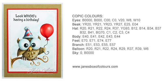 Jane's Box of Colours: Owl like to wish you a Happy Birthday