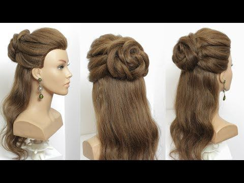 Half Up Flower Bun Romantic Wedding Hairstyle Hair Tutorial Youtube Hair Styles Hair Updos Tutorials Hair Tutorial