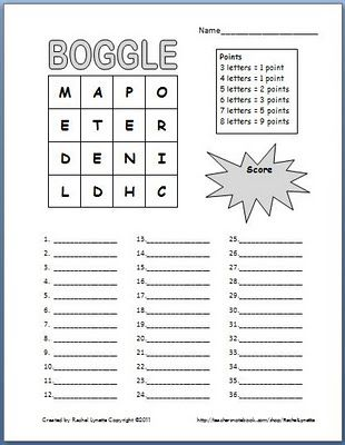 Winter Olympics 5x5 Boggle Word game 3rd - 6th Grade Worksheet ...