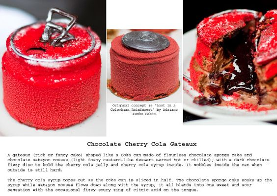 """Chocolate Cherry Cola Gateaux aka """"Lost In A Columbian Rainforest"""" by Adriano Zumbo Cakes."""