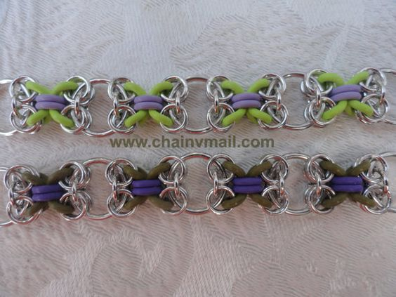 """chainmail """"Hugs & Kisses"""" XOXO bracelet kit with tutorial. Chainmaille maille EPDM rubber O-rings sawcut jumprings"""