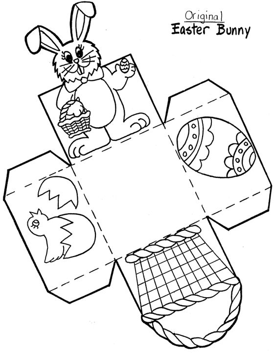 Paper Easter Basket Printable Template: