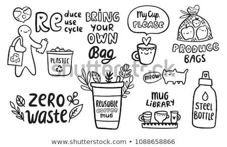 Zero Waste Doodle Concept Reduce Reuse Recycle Illustration