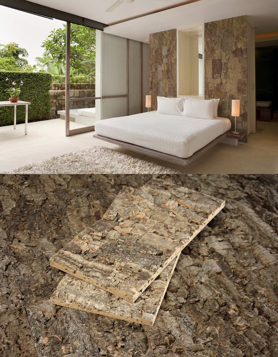 Love the rustic charm of these cork wall tiles. This definitely makes a great accent wall    Via http://www.jetsongreen.com/2012/10/designer-cork-tile-wall-panel-cali-bamboo.html