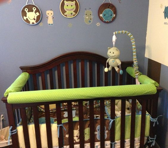 Crib Rail Cover Rail Covers And Extra Fabric On Pinterest