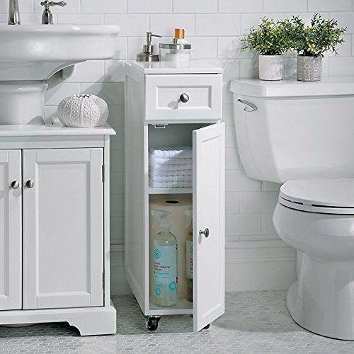 Modern White Slim Spacesaver Rolling Portable Bathroom St Https Smile Amazon Com Dp B Small Bathroom Sink Cabinet Portable Bathroom Small Bathroom Storage