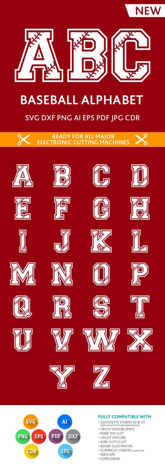 Softball / Baseball Letters SVG Stitches Alphabet Cut Files SVG DXF Eps Silhouette Studio Png Pdf Jpg Ai Cdr Silhouette Studio Cricut Cameo