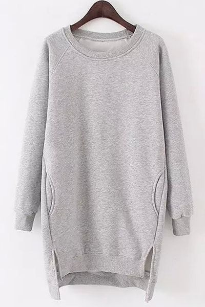 Solid Color Long Sleeves Side Slit Long Sweatshirt