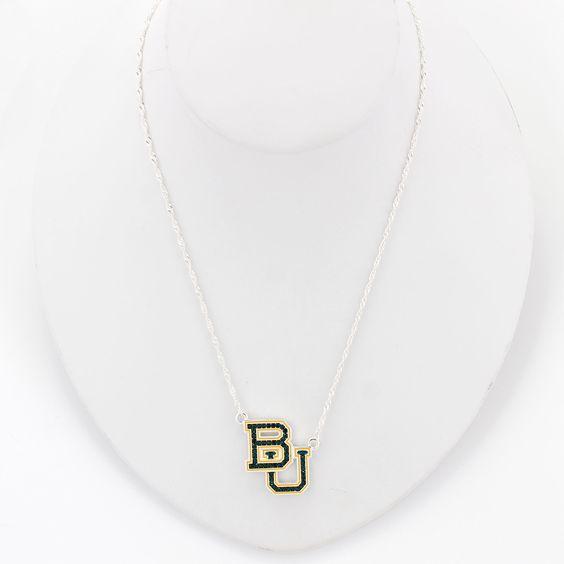 Baylor Crystal Logo Necklace