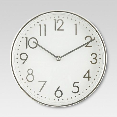 Https Www Target Com P 10 Round Wall Clock White Chrome Threshold 153 A 51466449 Round Wall Clocks Grey Wall Clocks Wall Clock