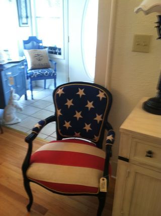 Patriotic chair  Have a chair very similar to this under restoration and hadn't figured out the colors yet.  This. Is. Perfect!