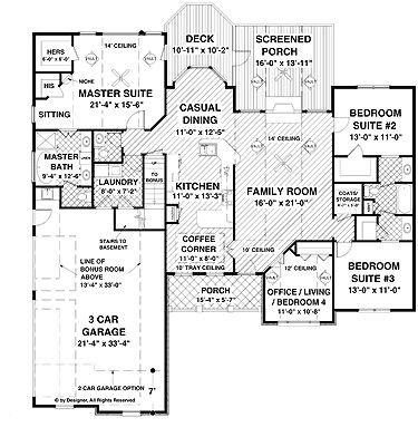 Home Plans Homepw03103 2 000 Square Feet 3 Bedroom 2