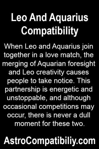 love match for aquarius and leo Learn more about the compatibility of leo and aquarius in love, sex and life your love horoscope compatibility is waiting for you here.