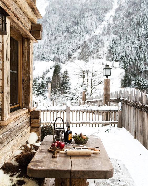 We love winter and snow (even though we don't get a whole lot where we currently live). Snow covered trees, wood house, textures on the table). Aesthetically I like the use of colors, natural tones, and negative space.: