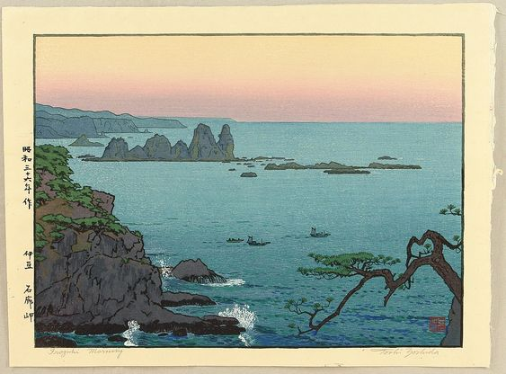 This Japanese print has always reminded me of Okinawa.  Yoshida, Tôshi   Yoshida Toshi: Irozaki in the morning - Artelino