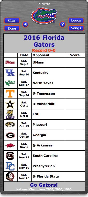 BACK OF MAC APP - 2016 Florida Gators Football Schedule App - Go Gators! - National Champions 2008, 2006, 1996  http://2thumbzmac.com/teamPages/Florida_Gators.htm