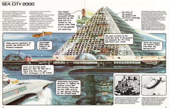 "Sea City 2000, the floating city of tomorrow. From the 1979 Usborne book ""The World of the Future - Future Cities"":"