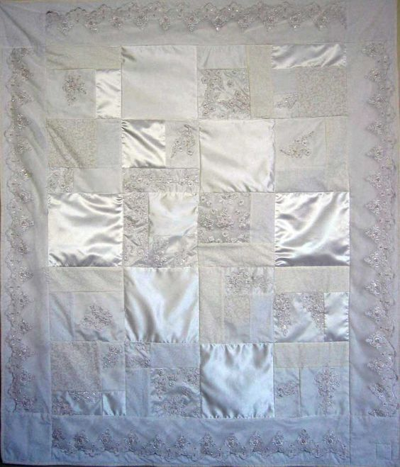 Wedding dress quilt....I think this may be what I do with my wedding dress after the big day.
